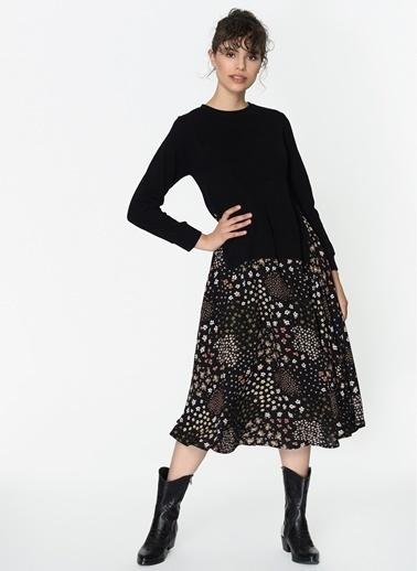 Loves You Selanik Garnili Emprime Uzun Elbise Siyah